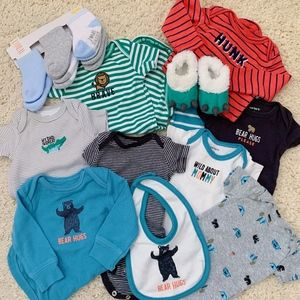 CARTER'S Bodysuits and Accessories Bundle 0-3M